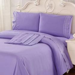 Juego de sábanas bordadas con broderie línea hotelera Love and Home de 2 plazas y media.