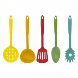 Set Juego 5 Utensilios Cocina Nylon Colores Carol