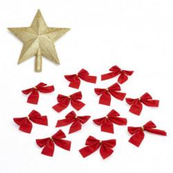 Set de Adornos para Navidad Punta Estrella y 16 moños