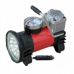 Compresor Inflador De Aire 12v Autos Linterna 18 Leds